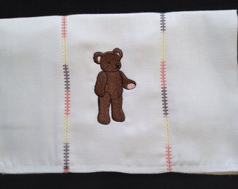 Boys Brown Bear burp cloth with decorative stitches on the seams. Can be personalized for an extra charge.
