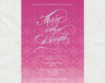 ombre snowflake christmas party invitation - printable file - editable