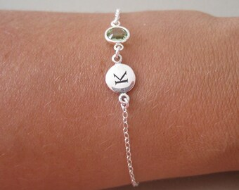 Silver Initial & Birthstone Charm Bracelet - Monogrammed Bracelet - Initial Bracelet - Birthstone Bracelet