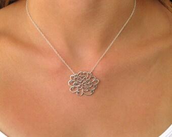 Chrysanthemum Flower Pendant Necklace - Pendant Necklace