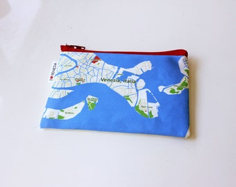 Venezia Italia Zipper pouch - printed with the map of Venice, Italy - Made to order