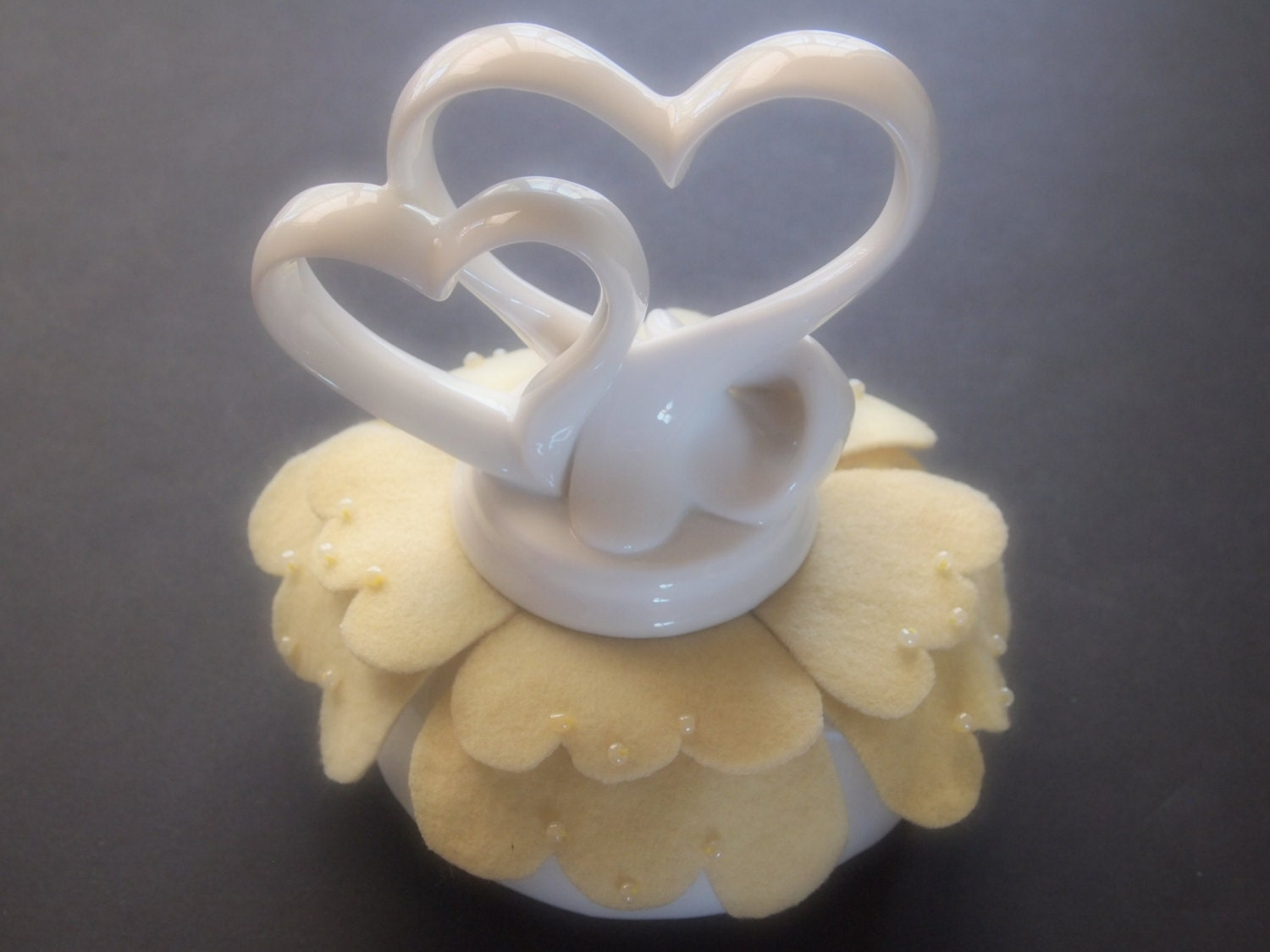 Cake Topper Wedding Hearts Pale Yellow White Ivory