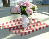 Coral Chevron Table Square Topper for Wedding Decor, Birthday Parties, Party Decor, Holidays