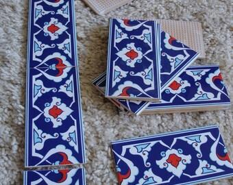 """Iznik Turkish ceramic border tile  4 x 8"""" (10 x 20cm)"""