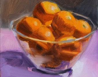 Glass Bowl of Tangerines on Pink