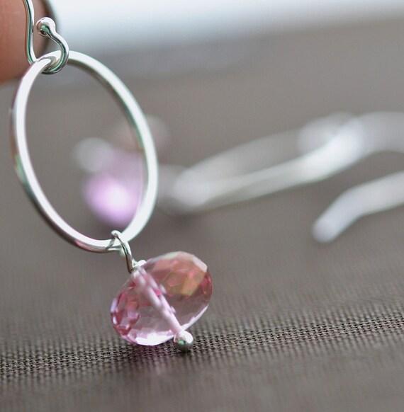 Pink Topaz Earrings, Dangle earrings, Drop Earrings,Sterling Eternity Circle,Bridesmaid Gift,Wedding Jewelry,Silver Earrings,