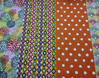 SALE - 8 Japanese patterns, orange, 1/2 yard, pure cotton fabric