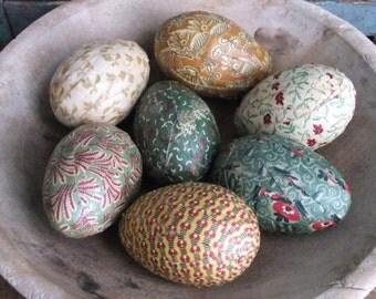 Primitive Easter Egg Bowl Filler Ornies Rustic  Colonial Farmhouse Decor Green Yellow Cream