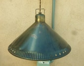 Industrial farmhouse pendant light with corrugated edge