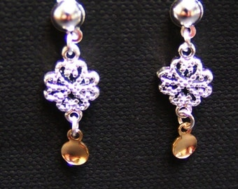 Trine - Traditional Norwegian Fancy Hearts Filigree Solje Style Earrings with Golden Drops on Silver Plated Ball Posts