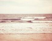 """Beach Photography - ocean print sea waves beige cream neutral peach pale brown white wall art photo - 11x14, 8x10 Photograph, """"All is Calm"""""""