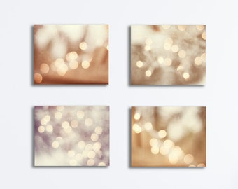 Lights Canvas Set - bokeh sparkle photography beige cream four prints neutral wall art sparkly brown gallery wrapped circle bokeh photos