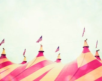 "Circus Photography - nursery wall art pink baby girls room yellow nursery orange mint kids carnival large print photograph, ""The Big Top"""