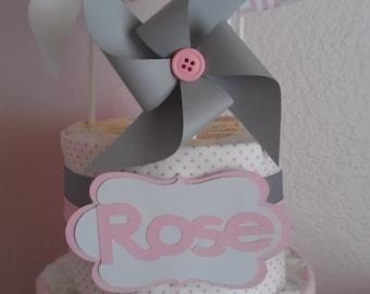 Diaper cake.  Pampers Diaper cake.  Girl's diaper cake.  Pinwheel diaper cake.  Custom Diaper Cake