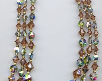 Sparkling vintage 3-strand crystal necklace - rare colorado topaz AB bicones and vitrail medium rivoli crystals