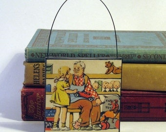 VINTAGE TOYS ORNAMENT Handmade Ornament from Vintage Upcycled Book Childrens Reader Holiday Ornament Toymaker