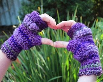 Purple Sparkle Fingerless Crochet Gloves