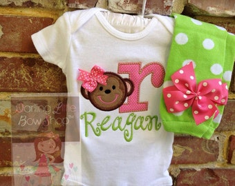 Monkey outfit for baby girls  -- Sweet -n- Silly Monkey -- lime green and hot pink with name and polka dot leg warmers