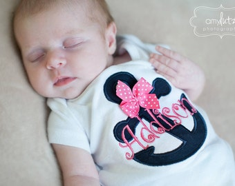 Anchor bodysuit, tank top or shirt for girls  -- Anchors Away -- navy blue and hot pink with name and polka dot bow accent