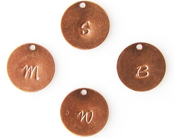 add a charm, add on an initial charm, personalized charm, customized letter, hand stamped, initial charm for antique copper necklace