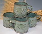 Custom Order, 12 Oz. mug - Aqua  Bird Mug, ceramic mug, pottery mug, handmade pottery