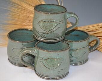 Aqua  Bird Mug, ceramic mug, pottery mug, handmade pottery