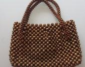 Vitnage Wood Bead Purse