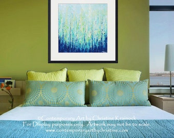 "Art, GICLEE PRINT, Abstract Painting, Blue Modern Canvas Print Coastal Aqua Green White Landscape Wall Decor LARGE size up to 60"" -Christine"