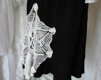 Gypsy boho Skirt in black with flouncy hem and crochet lace