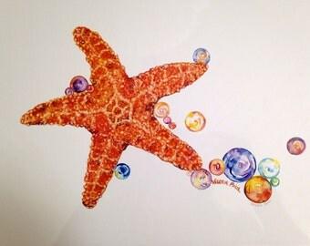 11x14 Starfish Watercolor Print
