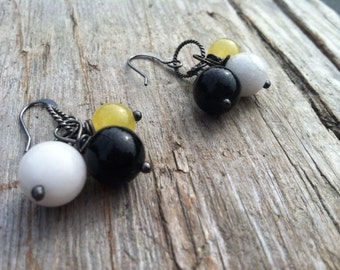 Black White and Yellow Sterling Silver Beaded Dangle Earrings