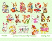 Digital Clipart, instant download, Vintage Easter Images, Easter Bunny, bunnies, rabbits, eggs, chicks, flowers, carrots, 16 PNG files  1434