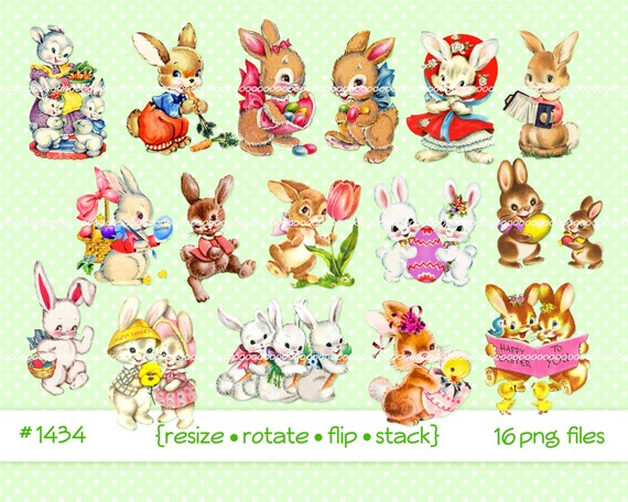 Digital Clipart instant download Vintage Easter Images