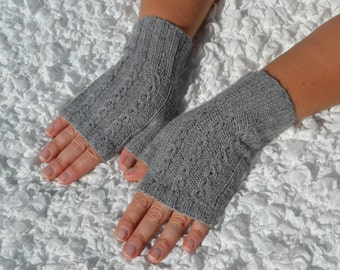 Cashmere fingerless gloves,hand-knitted fingerless women's gloves (100% cashmere),grey cashmere arm warmers, handmade pure cashmere gloves