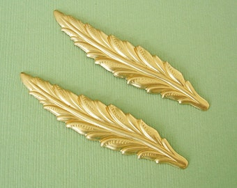 4-Raw Brass Long Textured Leaf Pendant Charm no Hole.