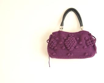 Handmade ultra violet Crochet Bag Winter Fashion-Handmade Purple  Knit Bag Crochet winter  bag- shoulder bag crochet bag valentines day gift