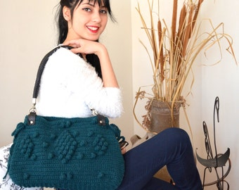 CROCHET BAG Green  Knit Bag, Celebrity Style,Crochet winter  bag-Nr:201-Gifts for mom,teacher gift Free Shipping Valentines day gift
