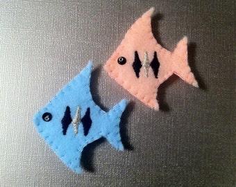 Pink & Baby Blue Felt Angel Fish Brooch set. Made to order