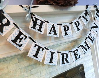 Happy Retirement Banner / Retirement Party Decor / Chevron Stripes Party Decoration/ You Pick the Colors
