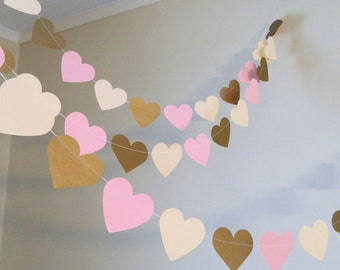 Heart Garland/ 10ft  Pink Gold & Ivory Hearts / Wedding Decor / Bridal Shower Decor / Shabby Chic Garland / Your color and size choice