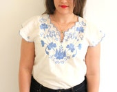 Blue Floral Embroidered Mexican Shirt blouse - CLEARANCE SALE!