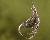 "Bird Claw Pendant - Bronze Crow Foot Necklace on 24"" Gunmetal Chain"