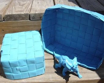 Upcycle nesting baskets with matching dinosaur toy triceratops ocean blue seafoam green bright handmade baskets