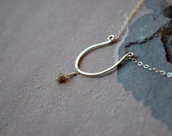 Rough Diamond Necklace, 14k hammered gold open circle, conflict free raw diamond, brown diamond