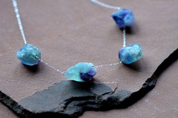Natural Fluorite Necklace, Large Rustic Nuggets, Cloudy Pale Blue, Sterling Silver Chain