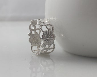 Sterling Silver Floral Vine Ring- Sterling Flower Ring