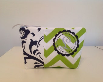 Monogrammed Cosmetic Zipper Bag in Green Chevron and Blue Damask