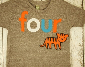 Zoo Animal tiger Birthday shirt Customize colors Boys Girls Organic Blend Birthday Tee first birthday second any birthday