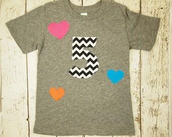 Girl's Birthday shirt children's tshirt chevron hearts rainbow theme party customize shirt for any birthday