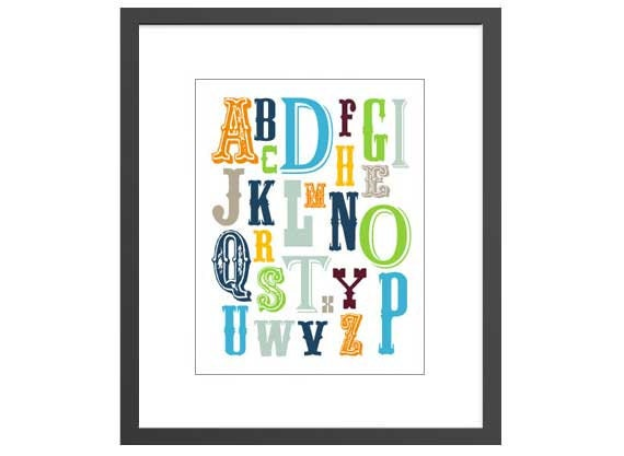 Alphabet art print for newborn boys nursery baby or kids room with vintage lettering. Great baby shower gift for new moms!